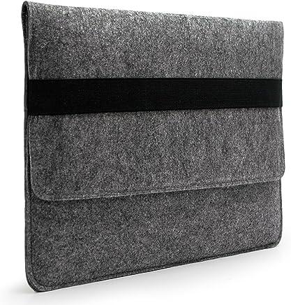 "Lavievert Handmade Gray Felt Case Bag Sleeve Protector with Black Eslastic Band for Apple 15"" MacBook Pro / 15"" MacBook Pro Retina and Most Popular 15-15.6 Inch Laptops / Notebooks / Ultrabooks"