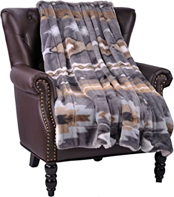 """Home Soft Things Boon Faux Fur Southwest Throw with Sherpa Backing, 60"""" x 80"""", Grey"""