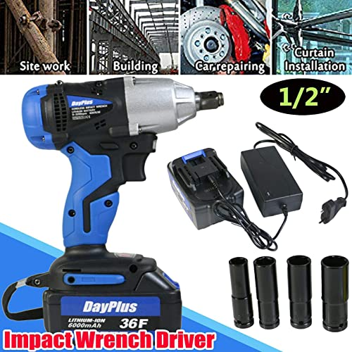 new arrival Cordless 2021 Impact Wrench Electric Power Tool 18V with 6000mAH Rechargeable Li-Ion Battery Fast Charger and 4 Socket Adapters Set 14mm 17mm 19mm 22mm, 420Nm Max Torque online Adjustable Speed LED Light sale