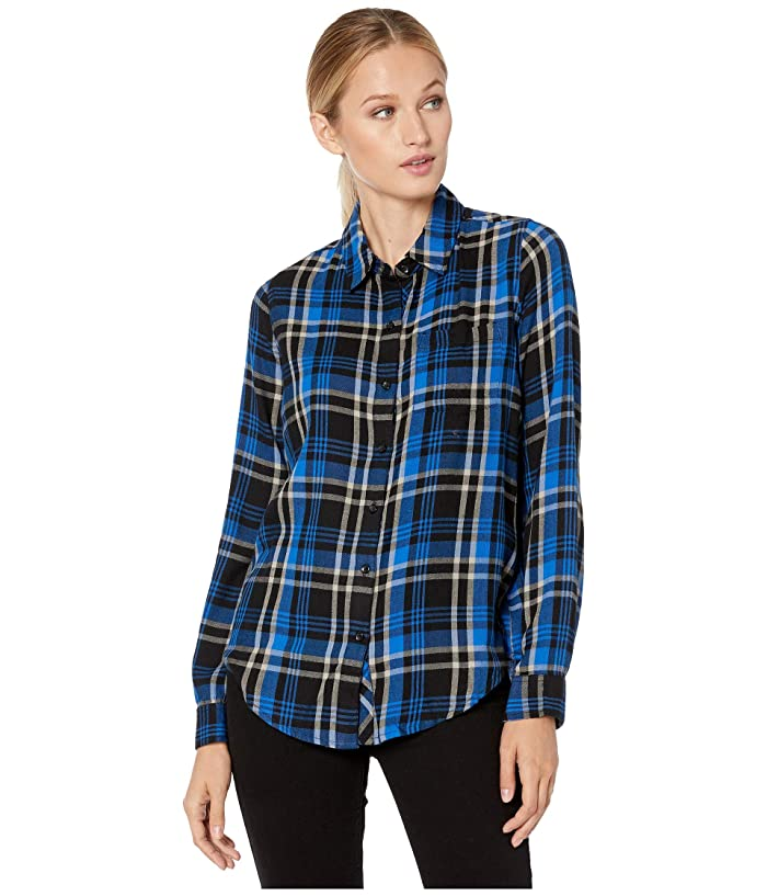 Lucky Brand  Classic One-Pocket Plaid Shirt (Cobalt Multi) Womens Clothing