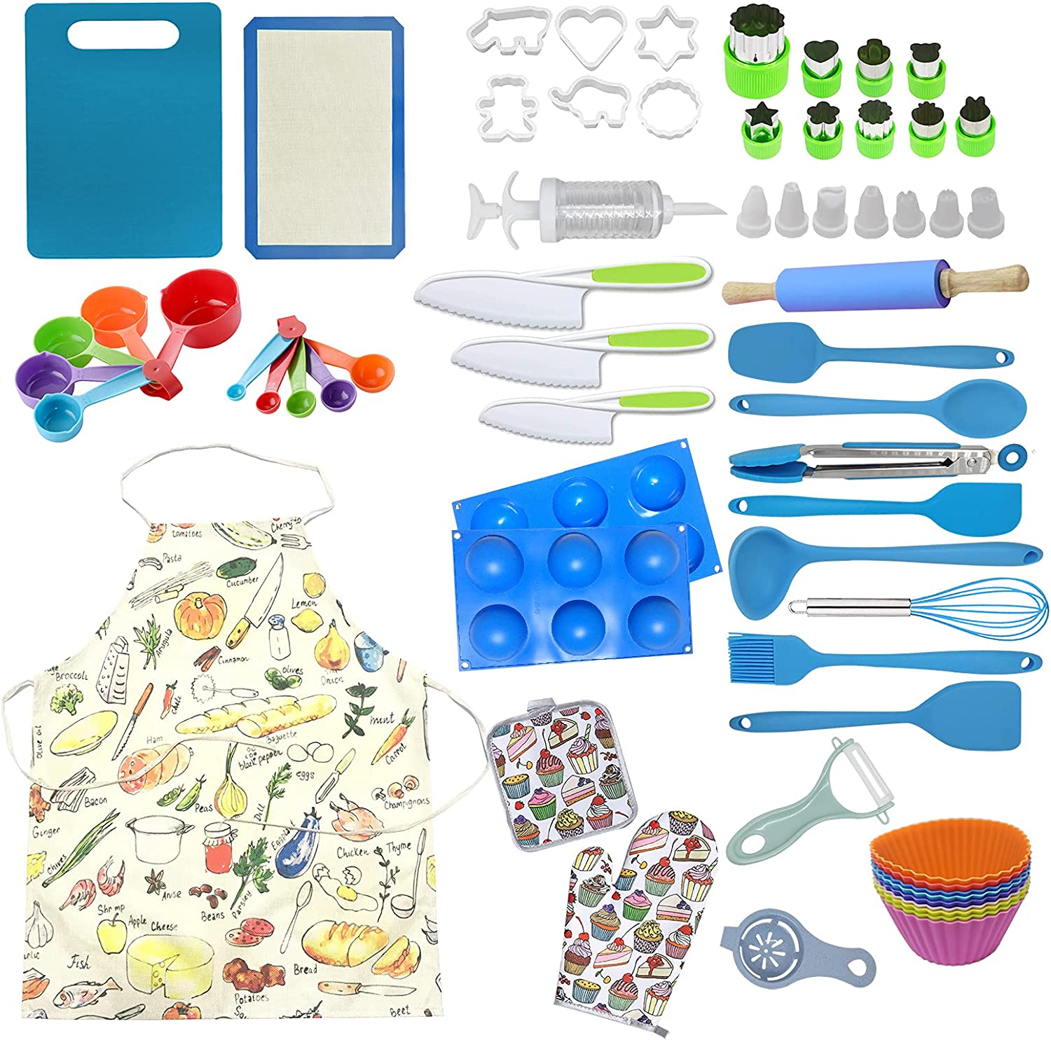 Mocoiron 63-Piece Chef Set for Cooking Kids- Baking Kitchen Spring new work Nippon regular agency one after another and