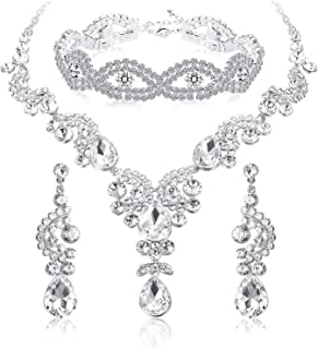 ORAZIO Crystal Wedding Bridal Jewelry Set for Women Rhinestone Necklace Dangle Earring Bracelet for Bride Bridemaids