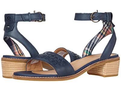 Sperry Seaport City Sandal Ankle Strap Woven Leather (Navy) Women