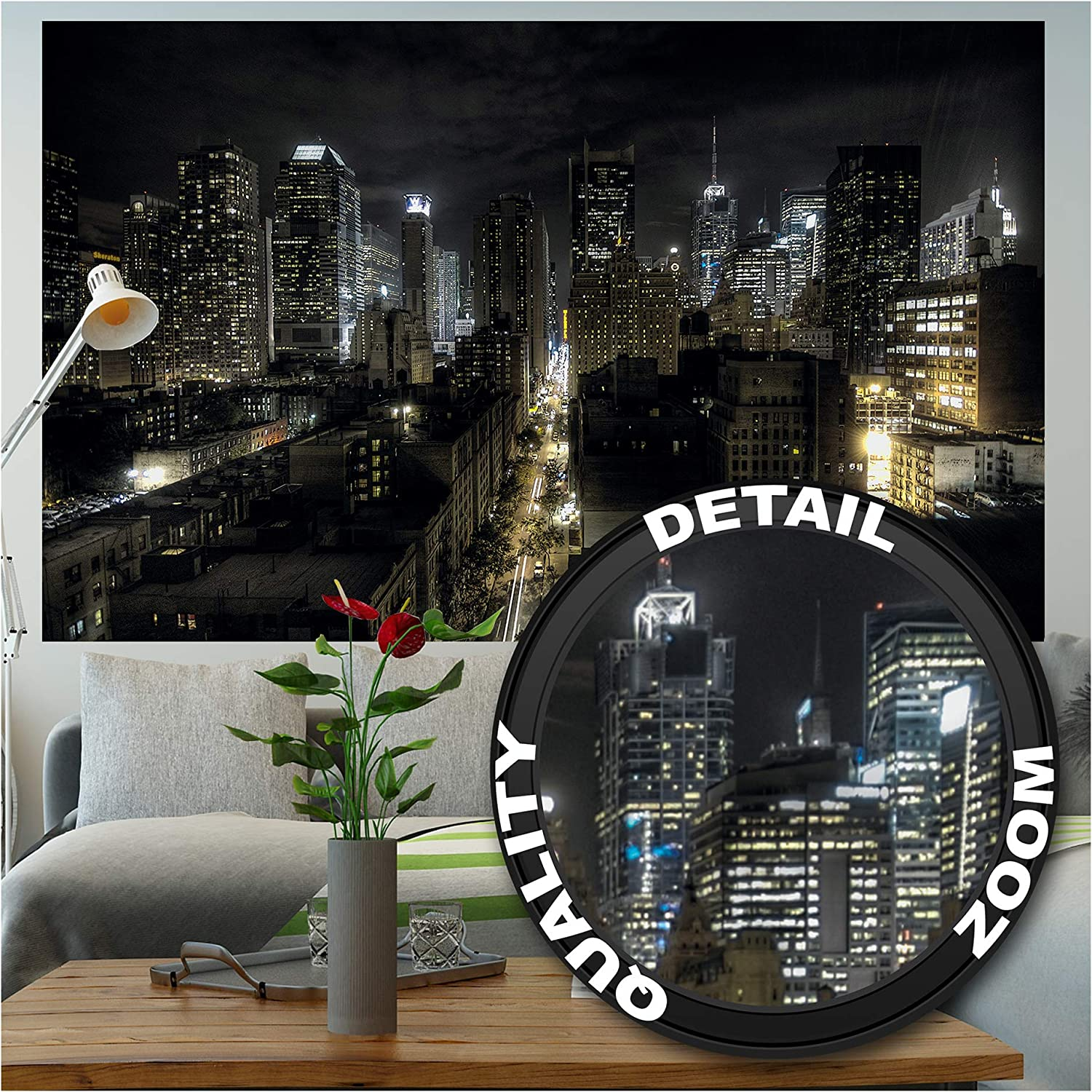 Photo Wallpaper – Manhattan at Night – Picture Decoration New York City American Metropolis USA NYC Illuminated Skyscrapers Image Decor Wall Mural (82.7x55.1in - 210x140cm)