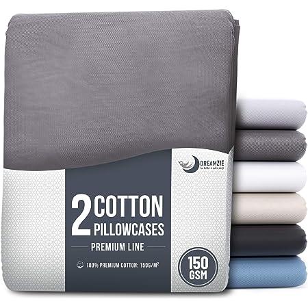 Blau Dreamzie Set mit 2X Baumwolle Kissenbez/üge 40 x 40 cm Resistent und Hypoallergen 100/% Jersey Baumwolle 150 g//qm Kissenh/ülle Kissenbezug
