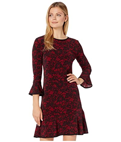 MICHAEL Michael Kors Glam Lace Flounce Dress (Red Currant) Women