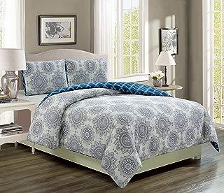 KingLinen Kaylin Grape/Navy Reversible Comforter Set Twin Extra Long