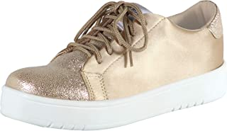 GRAN TURISMO - Womens Fashion Sneakers Low Tops Lace Up with Platform Soles Gold & Glitter Casual Sports for Teens
