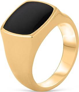 Akitsune Opus Anello | sigillo in acciaio inox Grande design minimalista degli uomini delle donne Anello - Matt Nero Oro A...