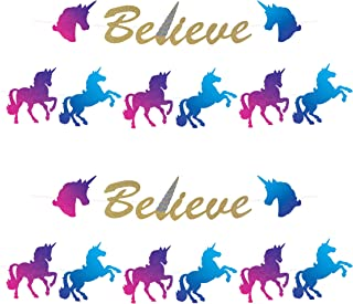 "Beistle Magical Unicorn Banner 4 Piece Happy Birthday Princess Party Supplies Baby Shower Decor, 7.5"" x 12', Gold/Pink/Pur..."