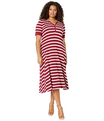 LAUREN Ralph Lauren Plus Size Waffle Knit Fit-and-Flare Dress (Dark Rasberry/Mascarpone Cream) Women
