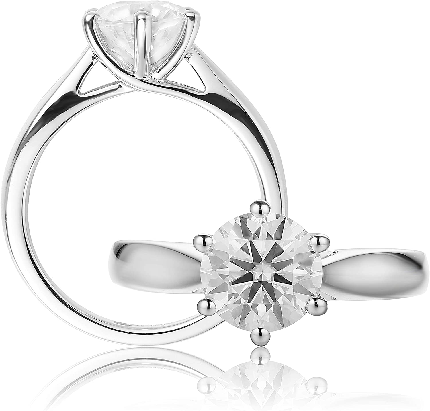 Esdomera Solitaire Popular shop is the lowest price challenge 6 Prongs 2.00ct 35% OFF 8mm Moissanite Wome Cut Round