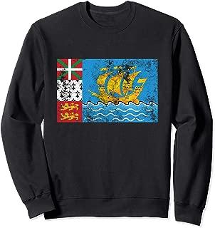 Saint Pierre & Miquelon France Distressed Flag Retro Vintage Sweatshirt
