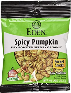 Eden Organic Spicy Pumpkin Seeds, Dry Roasted, Pocket Snacks, 1 Ounce (24)