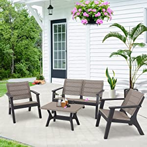 Do4U 4 Pieces Outdoor Furniture Sets Resin Patio Conversation Sets All Weather Patio Furniture Sets Stain-Resistant Furniture for Patio, Lawn and Garden (Light Ash Brown, L)