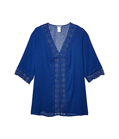 La Blanca Plus Size Island Fare Tunic Cover-Up (Blueberry) Women