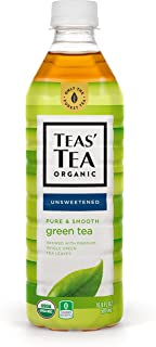 Teas' Tea Organic Iced Tea, Unsweetened Pure Green Tea, 16.9 Fl Oz Bottles, Pack of 12