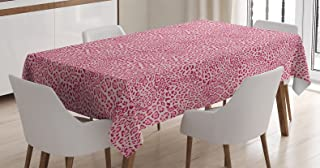 Ambesonne Animal Print Decor Tablecloth, Animal Print Leopard Skin Pattern Girly Design Trendy Decorating Illustration , Rectangular Table Cover for Dining Room Kitchen, 60x84 Inches, Pink