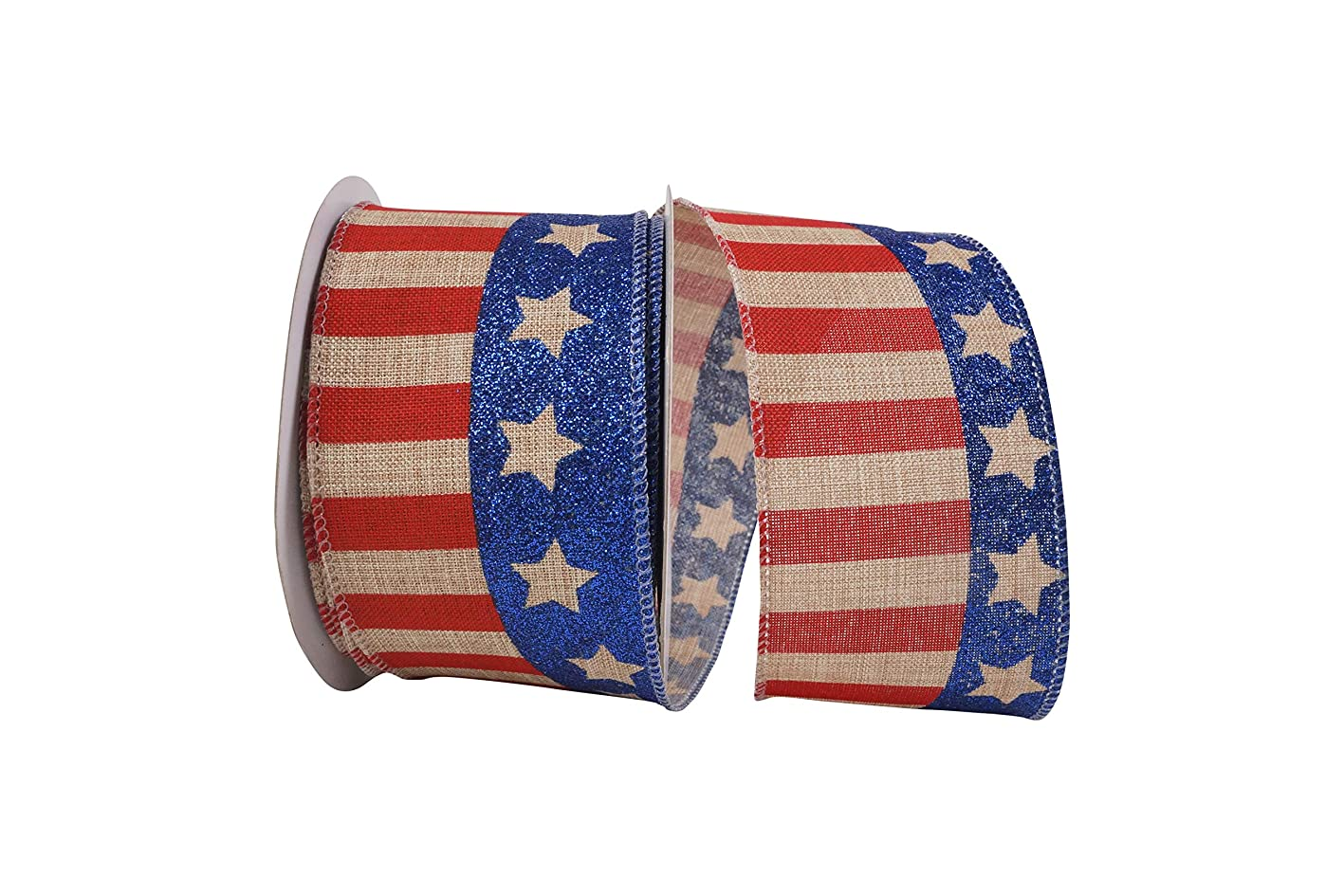 Reliant Ribbon 93104W-750-40F Flag Stripe Glitter Linen Wired Edge Ribbon, 2-1/2 Inch X 10 Yards, Natural jcxcpeopzih070