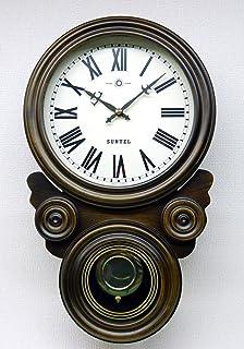 さんてる(Suntel) 掛け時計 ブラウン 480×285×120mm ボンボン時打ち だるま振り子時計(ローマ文字) SQ01-R