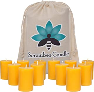 100% Pure Beeswax Votive Candles - Set of 12 Hand-Poured Eco Friendly Gift Set - Long Burning