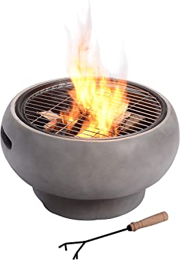 Peaktop HR17501AB Concrete Round Charcoal and Wood Burning Fire Pit for Outdoor Patio Garden Backyard with Spark Screen, Fire