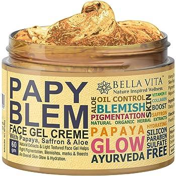 Bella Vita Organic PapyBlem Pigmentation Blemish Cream Gel For Spot Removal, Brightening & Lightening With Papaya & Saffron, 60 grams