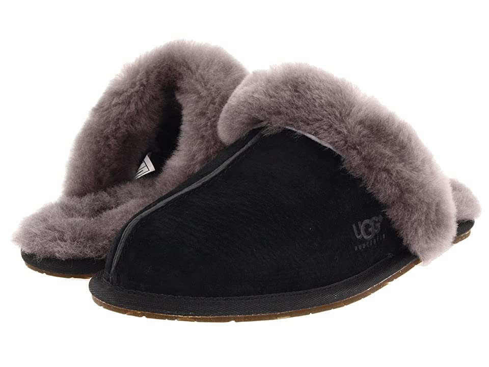 Image of UGG Scuffette II Water-Resistant Slipper (Black/Grey Suede) Women's Slippers