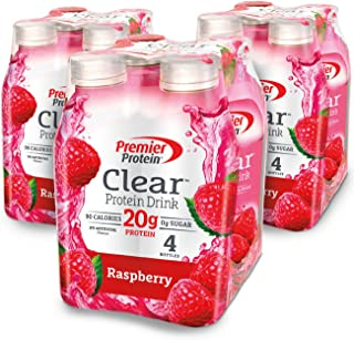 Premier Protein Clear Protein Drink, Raspberry, 16.9 fl oz Bottle, (12 Count)