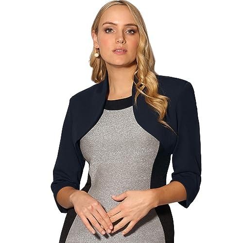 d872a216af0 KRISP® Women Cropped Shrug Open Jacket Boyfriend Blazer Shrug Red