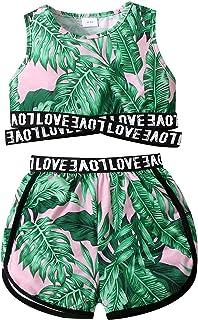 مجموعة ملابس صاني بيج للأطفال والبنات رياضية بدون أكمام بدون أكمام صدرية قصيرة صيفية للفتيات الصغار