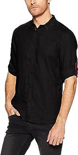 c01e42841 Jack & Jones Men's Solid Slim Fit Linen Casual Shirt  (1968084007_12134304_Black_Medium)