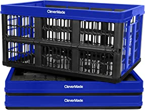 CleverMade 45L Collapsible Storage Bins, Plastic Stackable Grated Wall Utility Containers, CleverCrates Baskets, Royal Blu...