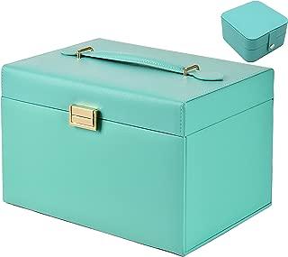 Protagonist ジュエリーボックス 大容量 豪華 アクセサリーケース アクセサリー収納 アクセサリーボックス 宝石箱 ピアス ネックレス 指輪置き (ティファニーブルー)