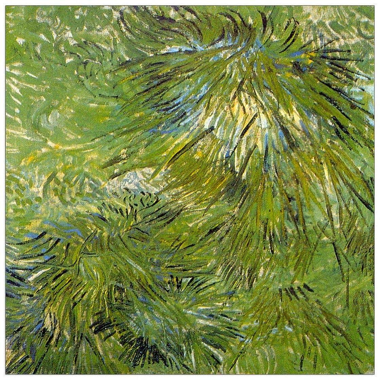 ArtPlaza TW90689 Van Gogh Vincent - Grass Decorative Panel 43.5x43.5 Inch Multicolored