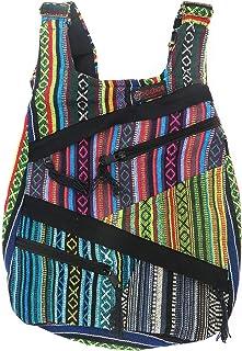 Mochila Hippie etnica Rasta, con 6 Bolsillos de Cremallera | Estilo Unisex para Mujer y Hombre | Moda Casual Urbana (Rayas Multicolor)