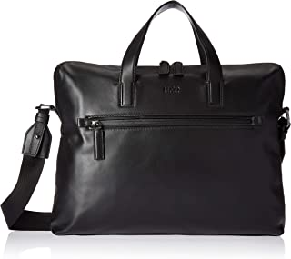 HUGO by Hugo Boss Men's National Soft Leather Workbag, black, ONE SIZE