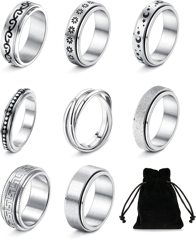 HAIAISO 8 Pcs Spinner Fidget Ring for Women Men Stainless Steel Sand Blast Finish Band Rings Moon Sun Star Celtic Stress Relieving Wedding Promise Rings(Size 5-11)