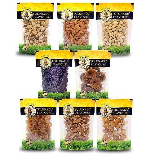Tulunadu Flavours Dry Fruits Combo Pack with Cashew Nut, Black-Raisins, Golden Raisins, Almonds, Pista, Walnut, Afghani Apricot, Anjeer (800g)