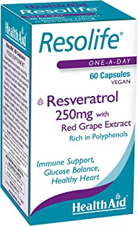 HealthAid Resolife Resveratrol - 60 cápsulas veganas. 250 ml. Pack