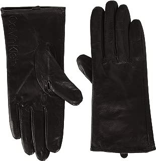 Calvin Klein Women's Leather/Suede Gloves W/Debossed Logo