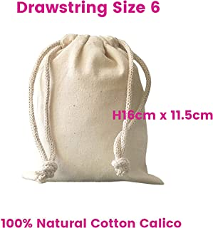 Calico Drawstring Bags Food Grade Size:6, W11.5cm*H16cm 130gsm Quantity Lots of : 1,5,10,15,20,25,30,50,100,200 Bags