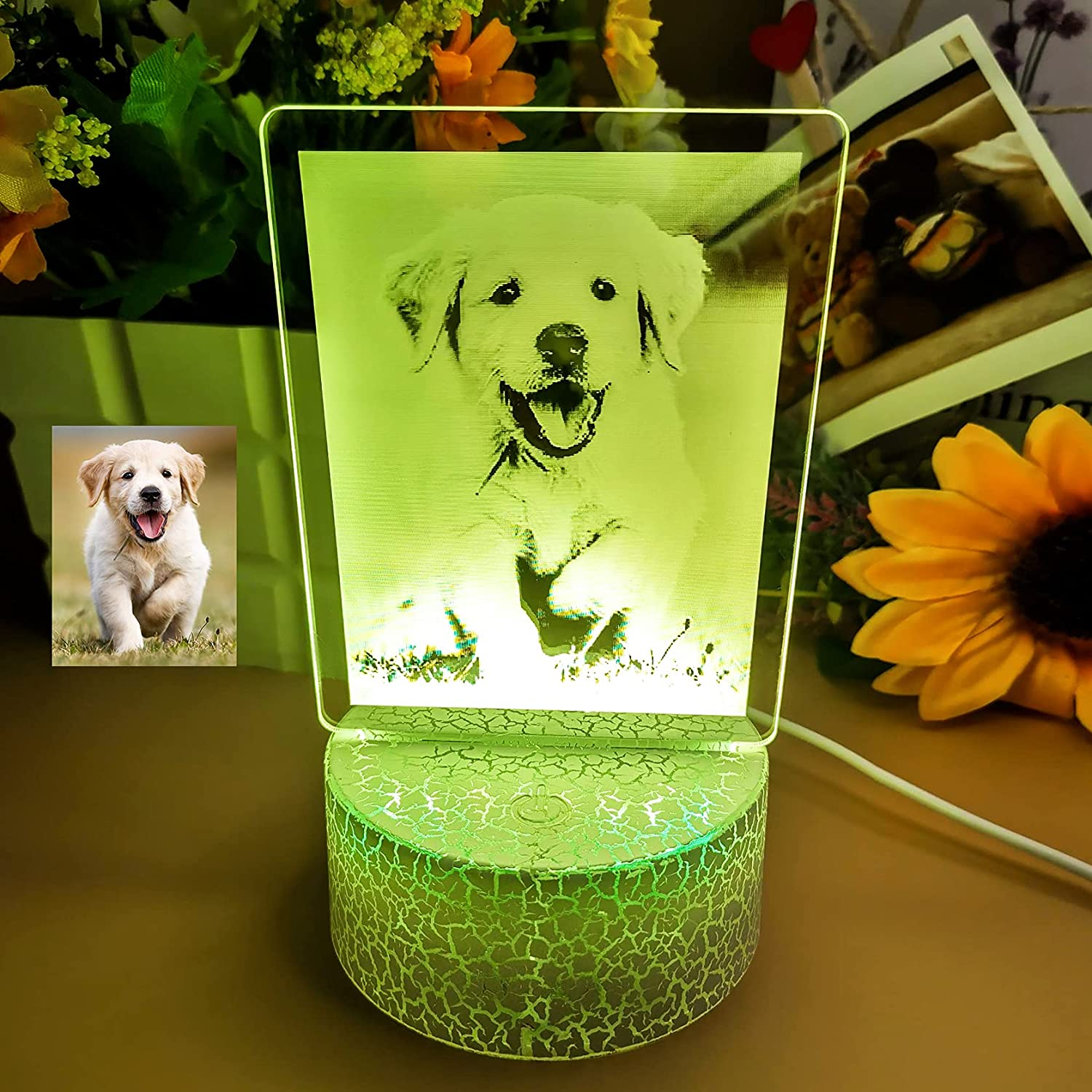 Sale price Personalized 7 Color Photo Frame Lamp Kids Base Boy Be super welcome for with Dad