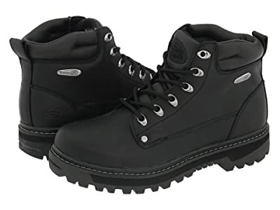 SKECHERS Pilot (Black Oily Leather) Men