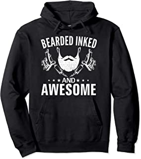 Bearded Inked And Awesome Funny Tattoos Vintage Cool Gift Pullover Hoodie