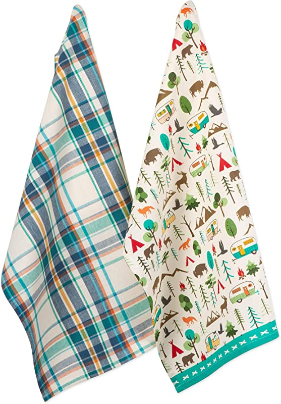 DII CAMZ11119 Cotton Summer Dish Decorative Oversized Towels Perfect For Every Day Home Kitchen Holidays And Housewarming Gifts 18x28 Happy Camper