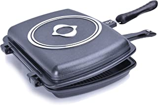 YONATA Double Sided Portable BBQ Grill Pan,Separate Detachable Double Pan Nonstick Barbecue Plate For Indoor and Outdoor Cooked Chicken,Fish,Egg