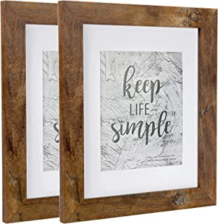 Home&Me 8x10 Picture Frame Rotten Brown 2 Pack - Made to Display Pictures 5x7 with Mat or 8x10 Without Mat - Wide Molding - Wall Mounting Material Included