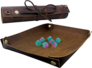 SM PRO Dice Tray - Full Grain Premium Leather Dice Mat for DND and Other RPG or Dice Rolling Games - Folding Organizer Tr...