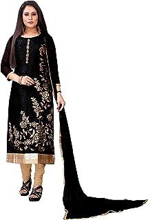 Sita Women's Georgette Semi-Stitched Salwar Suit (Black & Blue)